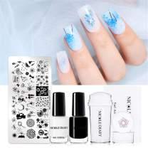 NICOLE DIARY Nail Stamping Starter Kit Nail Templates Polish Set Nail Image Plate Print DIY Tool + Stamping Nail Polish with Stamper & Scraper (set 2)