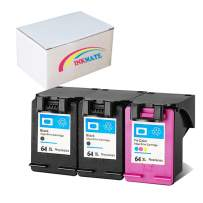 INKMATE Remanufactured Ink Cartridge Replacement for HP 64XL High Yield Compatible with HP Envy Photo 6252 7158 7855 7858 Printer(3 Pack-2 Black,1 Color)