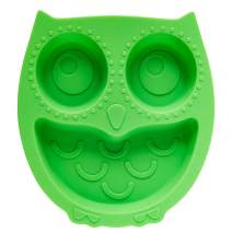 Brinware Suction Plates for Toddlers - Child Divided Silicone Baby Plate/Bowl- Kids Non-Slip Grip Dish Safe for Microwave, Oven, and Dishwasher - Green Owl for Boys and Girls