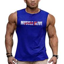 Mens Essential Muscle Sleeveless T-Shirt with Crew Neck for Bodybuilding Tank Tops Shirts Cotton