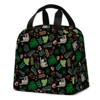 Sloth Lunch Bag, Reusable Lunch Tote Bag Multi-functional Insulated Cooler Lunch Boxes for School Office Work Outdoor Picnic Fishing Travel (Black)