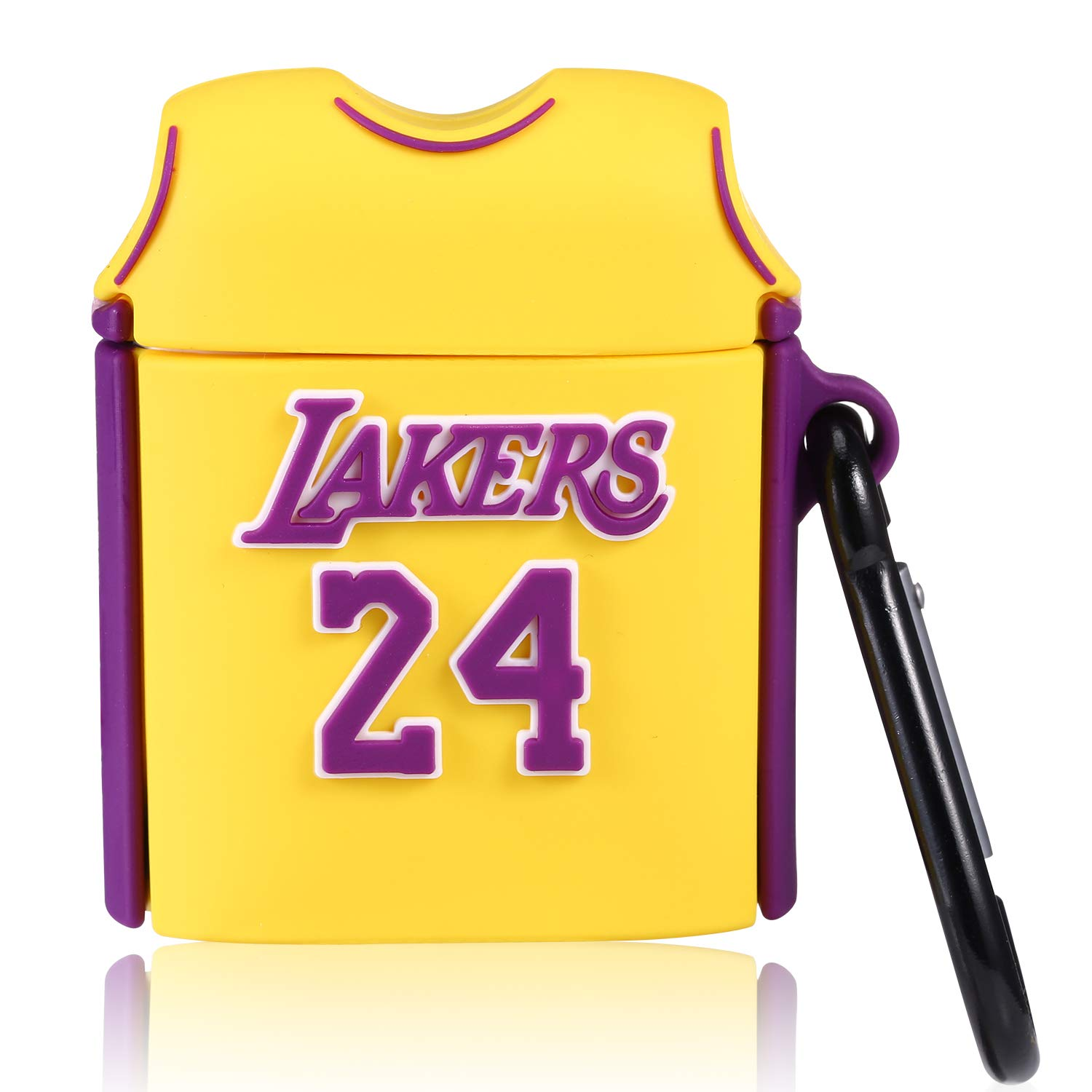 Lupct Yellow Basketball Shirt Compatible with Airpods 1/2 Case Silicone, Cute Cartoon 3D Cool Air pods Design Cover, Fun Fashion Stylish Funny Cases for Kids Teens Boys Character Skin Keychain Airpod