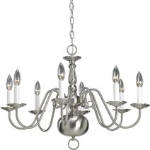 """Progress Lighting P4357-09 8-Light Americana Chandelier with Delicate Arms and Decorative Center Column and Candelabra Lamps, 26"""" x 26"""" x 19"""", Brushed Nickel"""