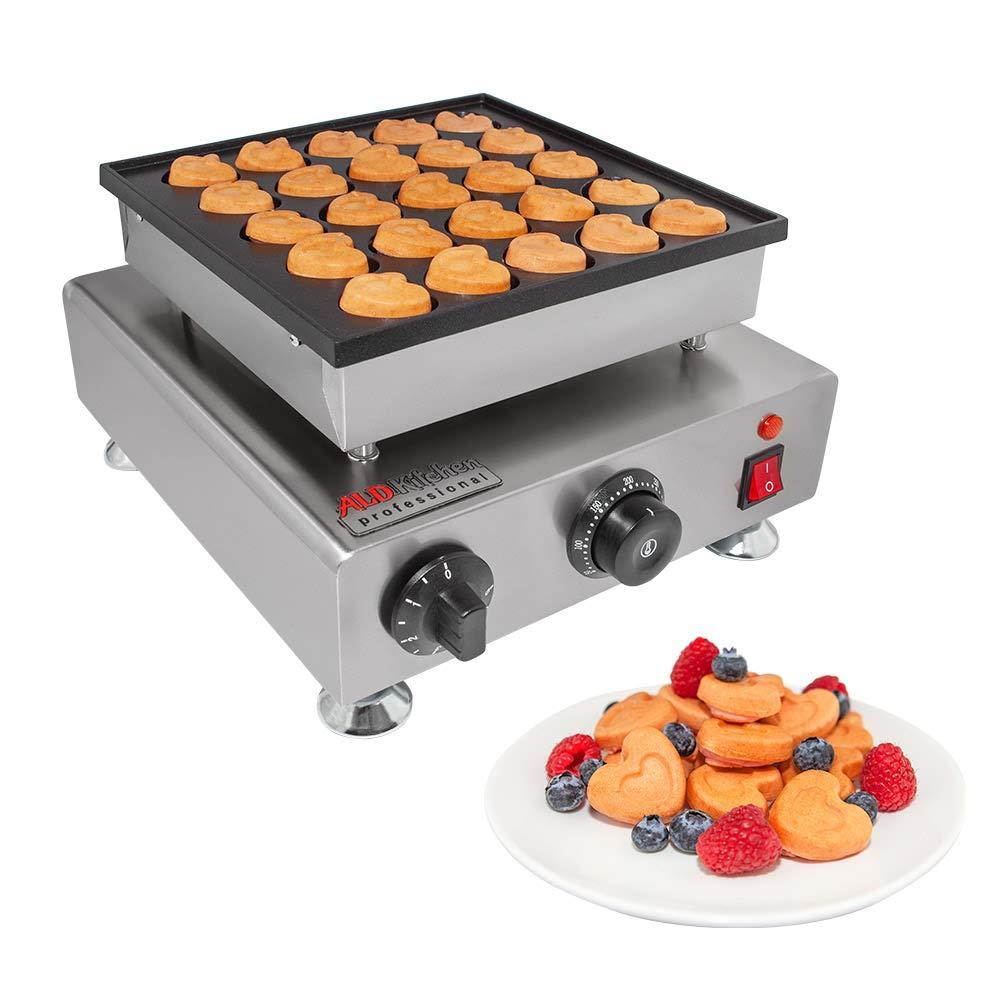 ALDKitchen Mini Pancakes Maker | Stainless Steel Electric Poffertjes Machine for 25 Heart-Shaped Dutch Pancakes | 110V (0.8kW)