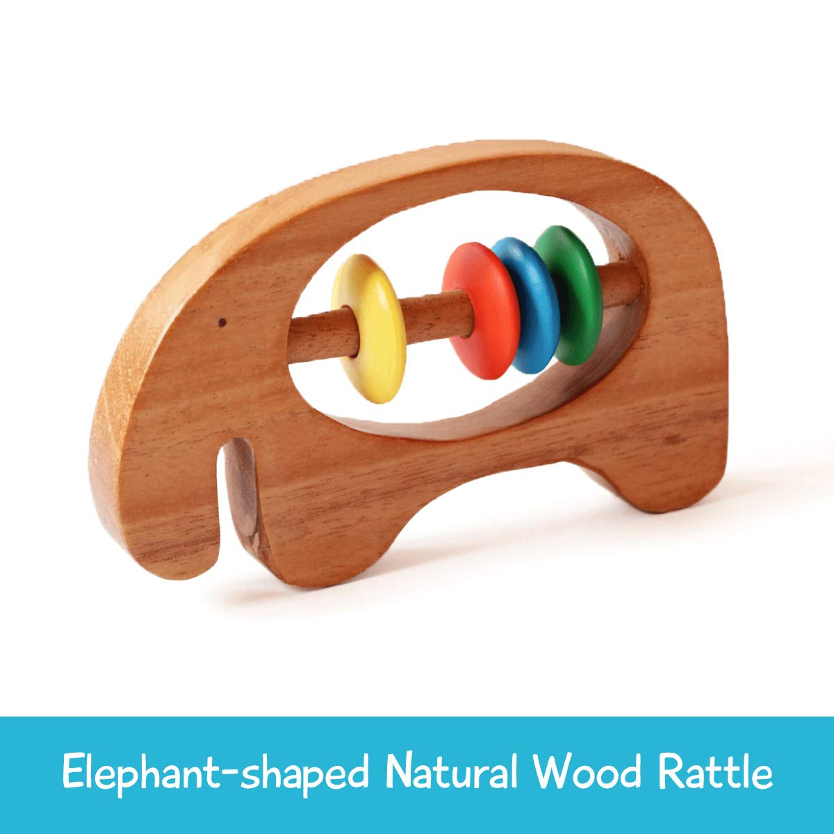 Shumee Wooden Elephant Rattle and Teething Toy for Infants, Babies(6 Months+) - Organic, Natural, Grasping, Clutching Montessori Shake Toy - Polished with Beeswax (Wooden Elephant Rattle)