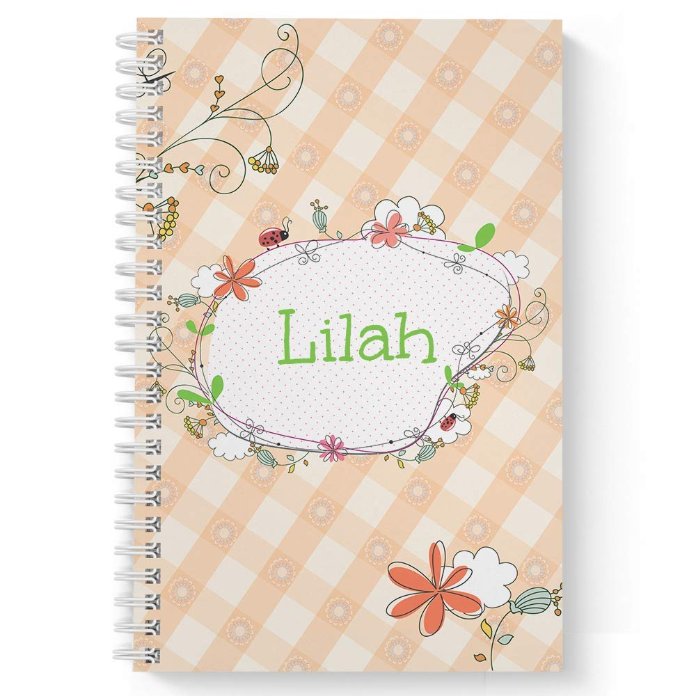 """Spring Picnic Children's Personalized Notebook/Journal, Laminated Soft Cover, 120 Sketch pages, lay flat wire-o spiral. Size: 5.5"""" x 8.5"""". Made in the USA"""