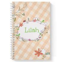 "Spring Picnic Children's Personalized Notebook/Journal, Laminated Soft Cover, 120 Sketch pages, lay flat wire-o spiral. Size: 5.5"" x 8.5"". Made in the USA"