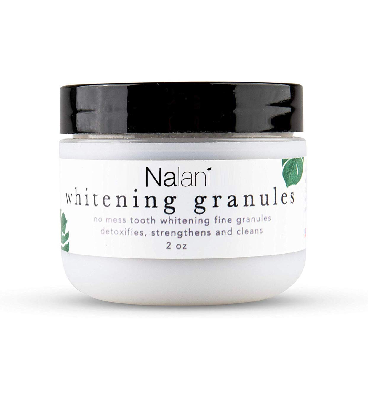 Nalani All Natural Organic No Mess Teeth Whitening Granules with Activated Charcoal - Spearmint - Better Than Powder, Gel, Strips - Made in USA - Made with Anti-Microbial Ingredients - 2oz