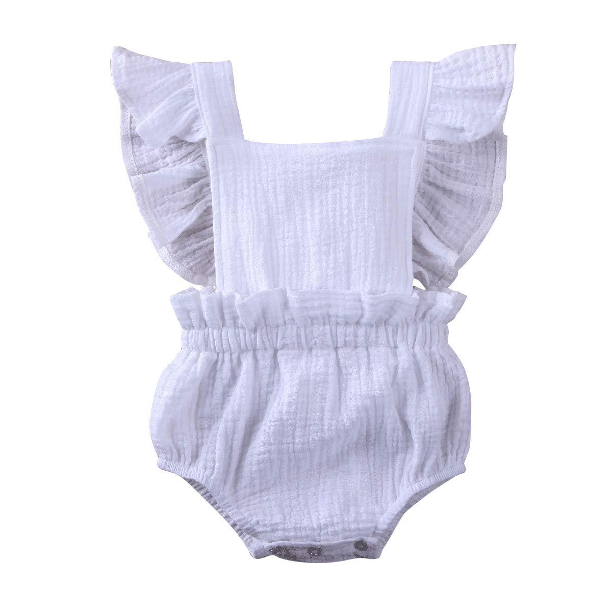 Puloru Toddler Baby Girl Romper One-Piece Cotton Flutter Sleeve Bodysuit Jumpsuit