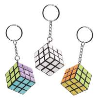 Baker Ross Colour in Magic Puzzle Cube Keyrings (Pack of 4) for Kids to Decorate and Attach to Key Rings and Bags