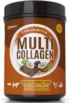 Multi Collagen Protein Powder 21oz Best Value - High-Quality Blend of Grass-Fed Beef, Wild Fish, Chicken, Eggshell Collagen Peptides, All Natural Type I, II, III, V and X. (Chocolate Coconut Flavor)