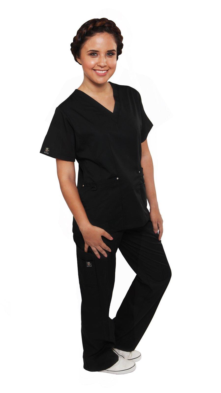 Dress A Med Women's Sleek Slim Fit Designer Rivet Pocket 2 Piece Scrubs Set