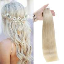 Full Shine Tape Hair Extensions Brazilian Real Human Hair Color 60 Platinum Blonde Seamless Skin Weft Tape Ins 20 Pcs Pu Tape In Hair Extension American White Tape Adhesive In Extensions 50 Grams
