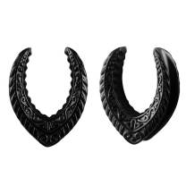 2 PCS LADEMAYH Saddle Tunnels Plugs Hangers for Stretched Ears - Black Opening Ears Gauges Body Piercing 316L Stainless Steel Pierced Earrings