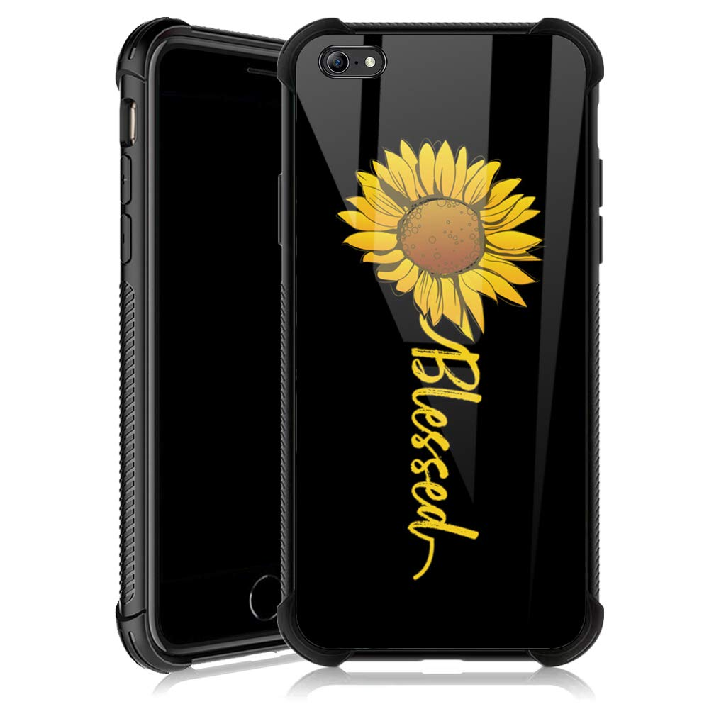 iPhone 6s Plus Case,Cute Sunflower Blessed iPhone 6 Plus Cases for Girls,Tempered Glass Back Cover Anti Scratch Reinforced Corners Soft TPU Bumper Shockproof Case for iPhone 6/6s Plus Yellow Flower