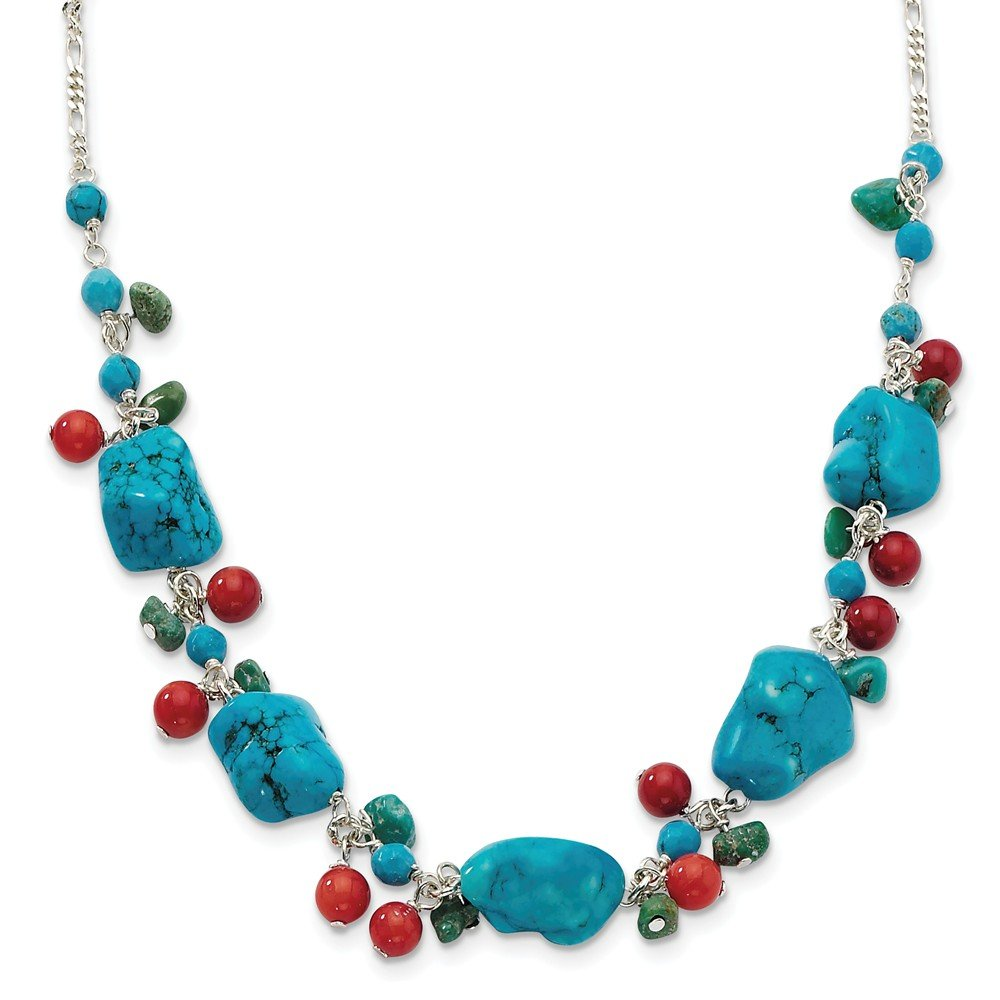925 Sterling Silver Dyed Howlite/turquoise/red Coral Chain Necklace Pendant Charm Natural Stone Fine Jewelry For Women Gifts For Her