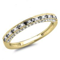 Dazzlingrock Collection 0.40 Carat (ctw) 18K Gold Round Black & White Diamond Ladies Stackable Anniversary Wedding Band