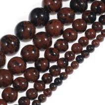 """Natural Stone Beads 10mm Mahogany Obsidian Gemstone Round Loose Beads Crystal Energy Stone Healing Power for Jewelry Making DIY,1 Strand 15"""""""