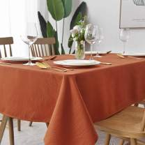 maxmill Jacquard Tablecloth Swirl Design Spillproof Wrinkle Free Oil Resistant Heavy Weight Soft Table Cloth Decorative Fabric Table Cover for Outdoor and Indoor Use Square 52 x 52 Inch Rust