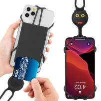"""Bone Cell Phone Lanyard with Card Holder, Universal Neck Phone Strap for iPhone 11 Pro Max, Galaxy S Pixel, Smartphone Detachable Case Silicone Straps, fits 4"""" to 6.5"""" Phone Tie (2nd Gen) - Miao Cat"""
