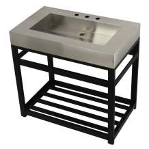 "Kingston Brass KVSP3722A0 Kingston Commercial 37"" Stainless Steel Iron Bathroom Console Sink Base, Brushed/Matte Black"