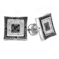 Dazzlingrock Collection 0.15 Carat (ctw) Black & White Round Diamond Micro Pave Setting Kite Shape Stud Earrings