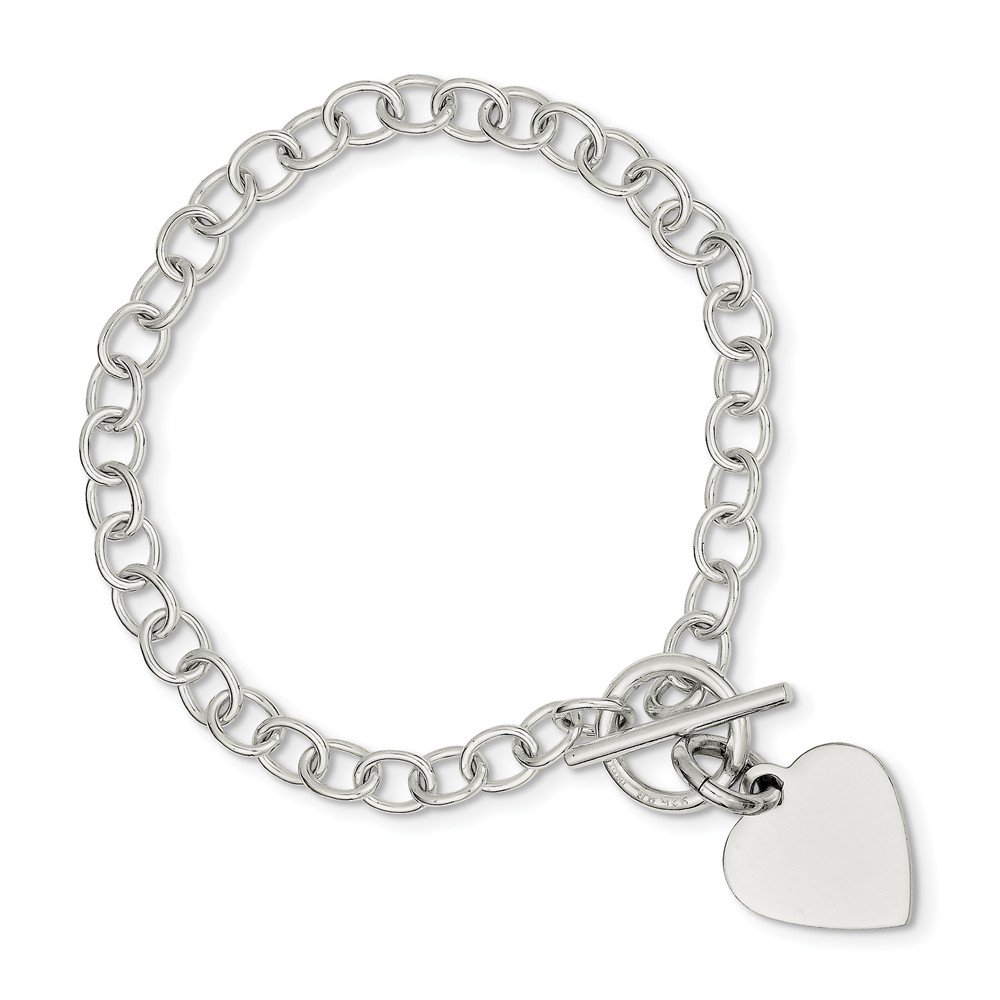 Sterling Silver Flat back Engravable Toggle Closure Polished Heart Charm Bracelet - Length Options: 7.5 8.5