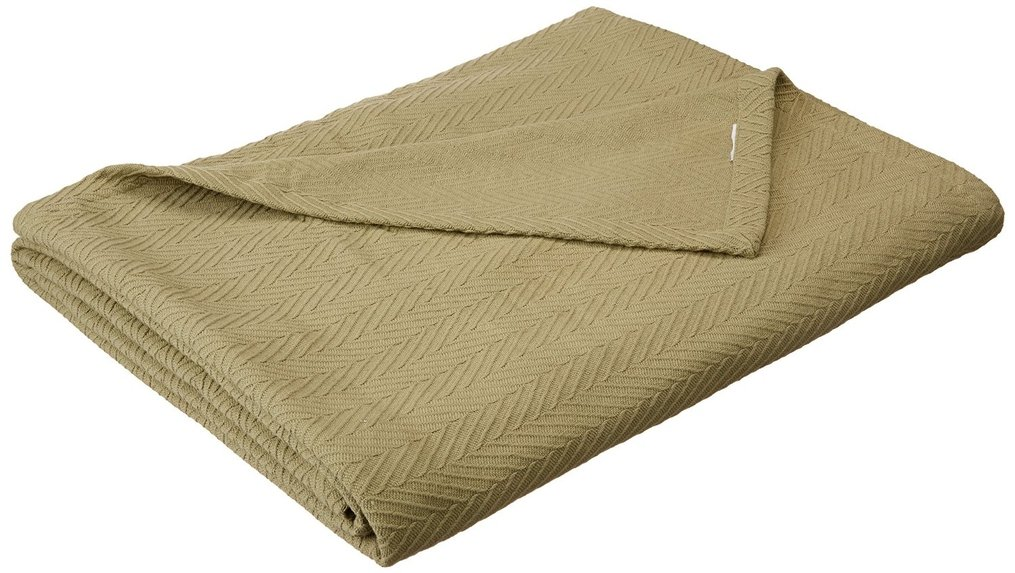 Cotton Blanket, Soft & Cozy, Woven, All-Season Throw, Breathable, Medium Weight, Picnic, Beach, Traveling, Camping, Thermal Blanket, Basket Weave Pattern, Full/Queen, Sage