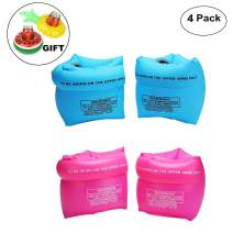 Jiareet PVC Arm Floaties Inflatable Swim Arm Bands Floater Sleeves Swimming Rings Tube Armlets for Kids Toddlers and Adults with Drink Holder (Blue Pink)