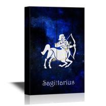 wall26 - 12 Zodiac Signs Constellation Canvas Wall Art - Sagittarius - Gallery Wrap Modern Home Decor | Ready to Hang - 32x48 inches