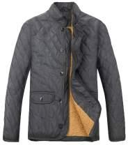MADHERO Men Quilted Coat Winter Diamond Fleece Jacket Outerwear