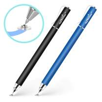 aibow Capacitive Stylus Pens for iPad, iPhone, Tablets, Cell Phones, All Touch Screens [ Fine Point & High Sensitivity Disc Tip Series ] with 2 Replaceable Disc Tips, Slide Cap Type1 (Black/Blue)