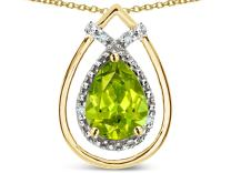 Star K Solid 14K Gold 8x6 Pear Shape Halo Pendant Necklace