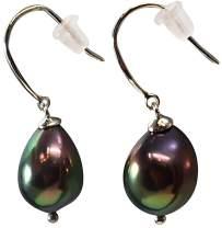 HinsonGayle AAA Handpicked 9-9.5mm Baroque Freshwater Cultured Pearl Dangle Earrings Sterling Silver