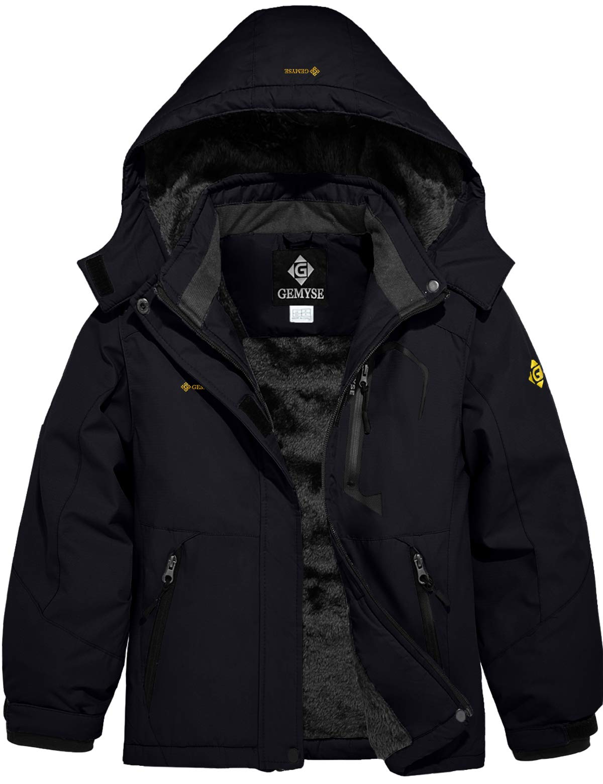 GEMYSE Girl's Waterproof Ski Snow Jacket Fleece Windproof Winter Jacket with Hood