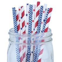 Just Artifacts Decorative Party Paper Straws 100pcs Assorted Color & Pattern – Red/Blue/Stars