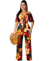 Women Sexy 2 Pieces Outfits - Floral Jumpsuits Long Pants Sets Off Shoulder Crop Tops