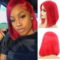 """Short Bob Wig Lace Front Human Hair Wig Red Straight 8"""" Pre Plucked with Baby Hair Bleached Knots Middle Part Brazilian Virgin Hair Glueless 13x4 Lace Colored Bob Wig Real Hair 180% Density for Women"""