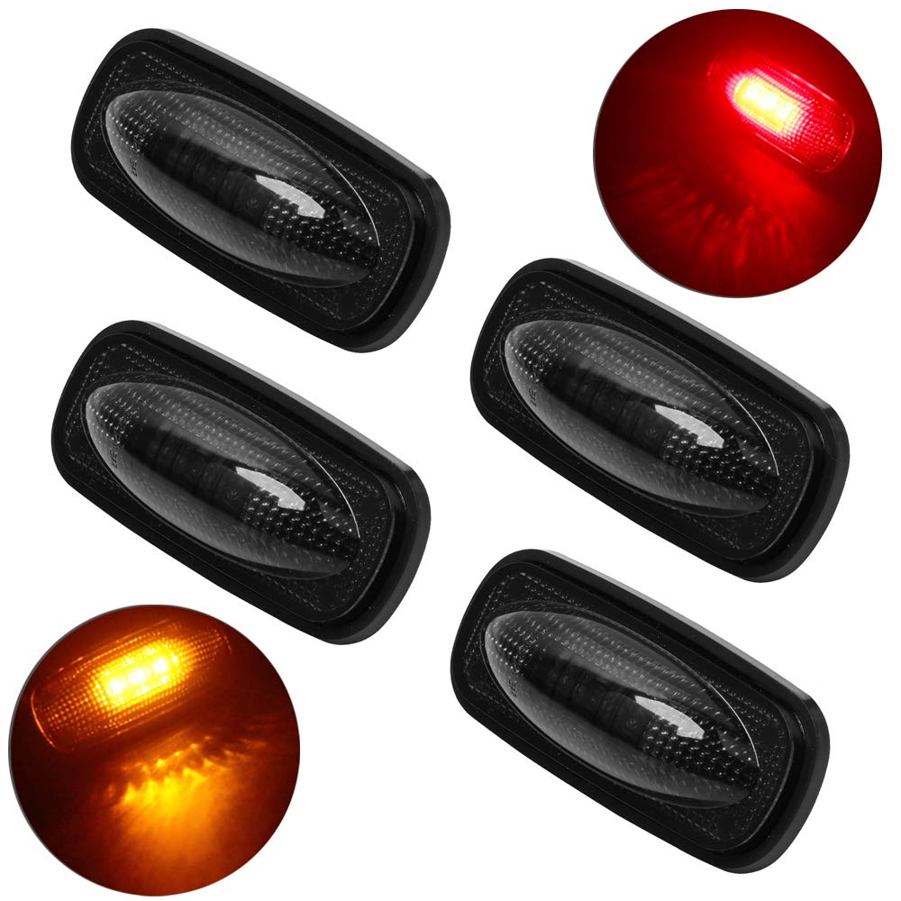3-LED Side Marker Lights for 2010-2017 Dodge Ram 2500 3500 Dually Cab Bed Fender Light Replacement OEM 264137 68042143AA 68042140AA (3LED Smoked, 3LED x4)
