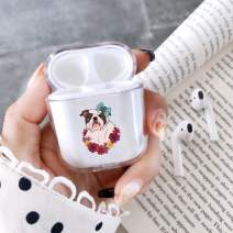 Clear Hard Plastic Case Full Protective Cover Skin Compatible with AirPods 2 & 1 Cute Bulldog