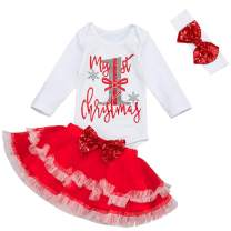 Yoveme Christmas Baby Outfit My First Christmas Baby Girl Romper Top and Tutu Skirt Leg Warmers with Headband 4PC Clothes Set
