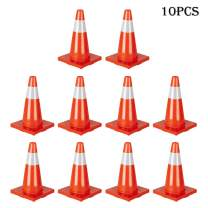 Knocbel 18 Inch PVC Traffic Cones Reflective Road Safety Parking Cone for Multi Purpose (Orange10Pack)