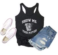 Show Me Your Pitties Shirt Women Funny Tank Tops in Vintage Summer Tank Top Dark Gray Shirts