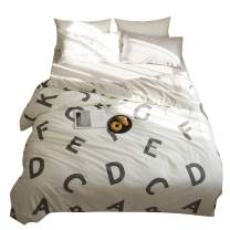 BuLuTu Kids Duvet Cover Full Set 100% Cotton English Alphabet Print Pattern Queen Bedding Sets With 2 Pillow Shams-Premium White Bedding Collections 3 Pieces Zipper Closure For Children Tween Teen Men