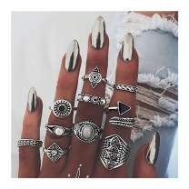 deladola Vintage Ring Set Silver Sparkly Rhinestone Crystal Joint Knuckle Hand Rings Stackable Midi Beaded Hollow Hand Jewelry for Women and Girls (10Pcs)