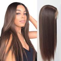 Lovigs Hair 13x6 Glueless Lace Front Wigs Heat Resistant Kanekalon Fiber Synthetic Hair Real Natural Straight Wigs for Women-100% Stylish Brown Wigs (Color 6# Brown 22 Inch)