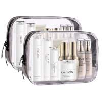 Meowoo Clear Toiletry Bag Travel, TSA Approved Toiletry Bag, 2pcs Waterproof Pouch Portable Clear Makeup Bag with Zipper,Cosmetic Bag for Women Men