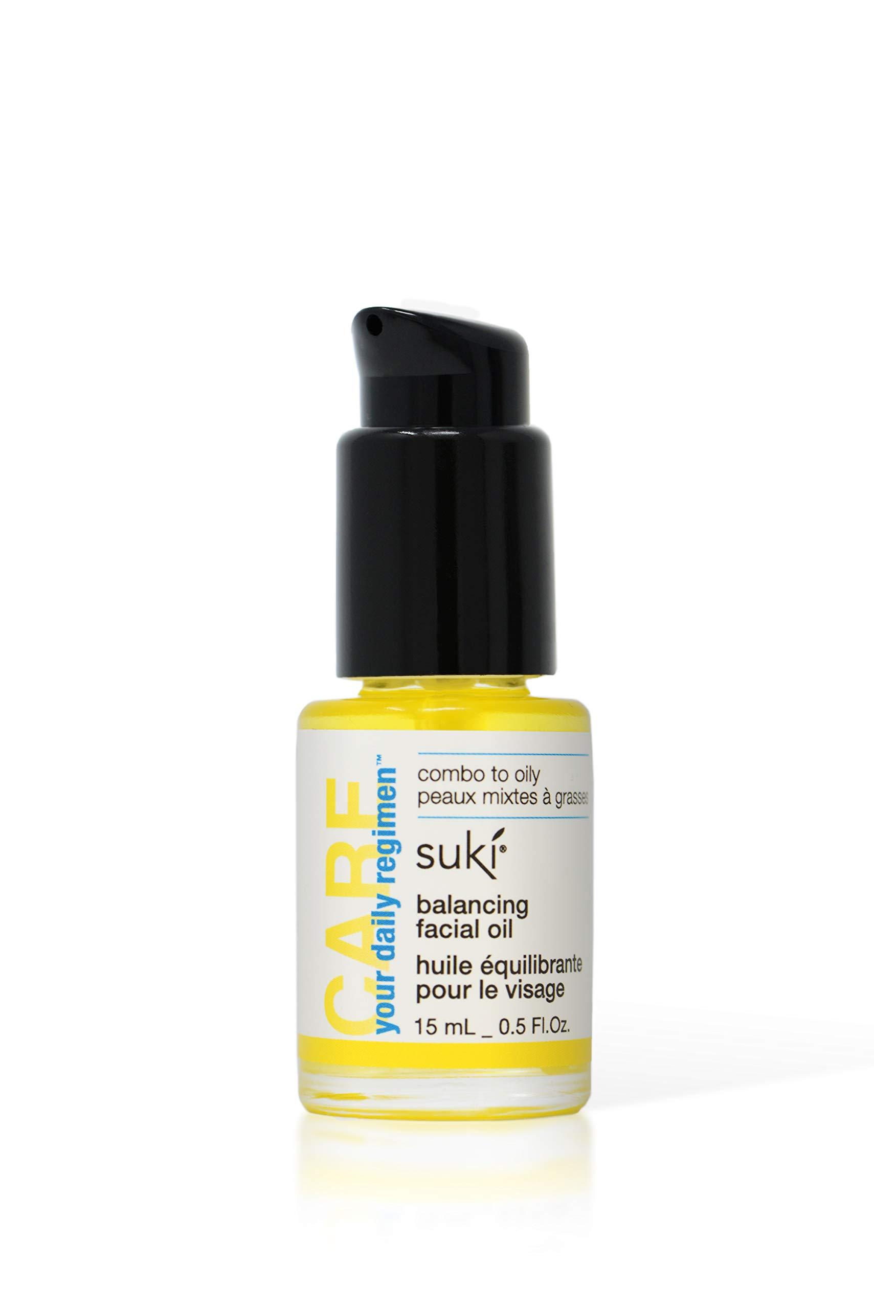 Suki Skincare Balancing Facial Oil - With Organic Jojoba Oil, Lavender, Chamomile, and Calendula - Sebum Equalizing Complexes Calm & Sooth Skin - 15 ml