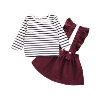 Toddler Baby Girl Suspender Skirt Sets Cotton Linen Shirts Ruffle Suspender Dress Spring Outfits Summer Clothes