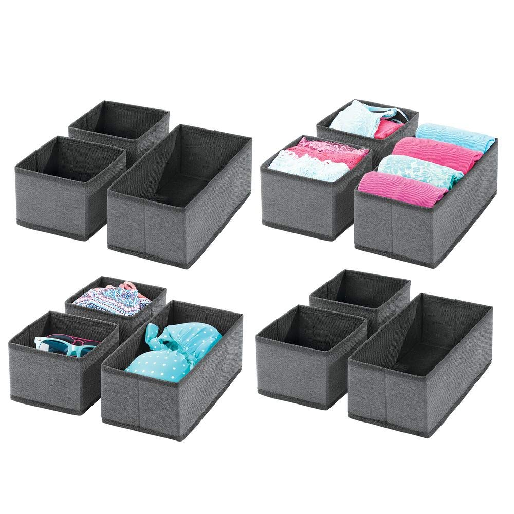 mDesign Soft Fabric Dresser Drawer and Closet Storage Organizer for Bedroom, Closet, Shelves, Drawers - Clothing/Accessory Organizing Bins - Set of 12 in 2 Sizes - Textured Print - Charcoal Gray/Black